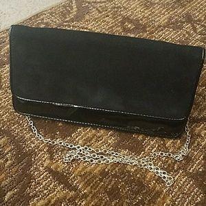 Aldo patent leather and suede clutch purse